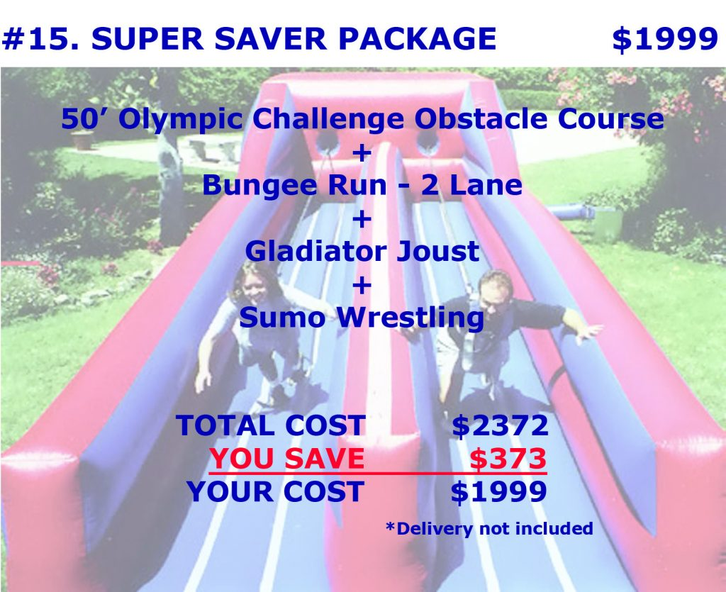 Super Saver Inflatable Obstacle Course Gladiator Joust Bungee Run Sumo Wrestling Rental Package Discount Party Rentals Cincinnati Ohio