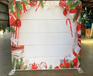 Red & Green Christmas Back Drop Rental for Photo Booth_Trade Show_Convention_Prom_After Prom_Cincinnati Ohio