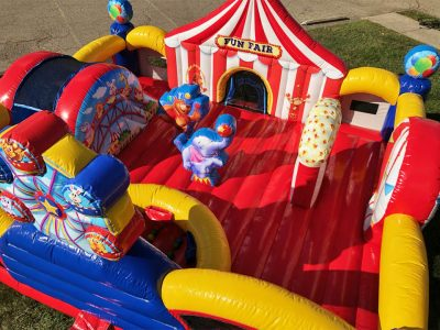 Circus Themed Preschool Inflatable Playland with Slide and Ball Pit Rental Cincinnati Ohio