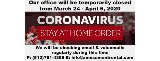 Stay At Home Order – Temporarily Closed 3/24 – 4/6