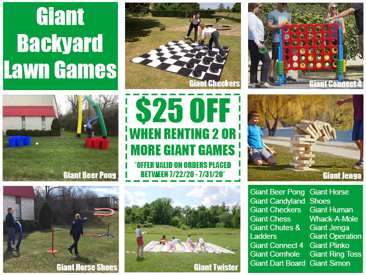 Giant Backyard Lawn Games Rental Coupon July 2020