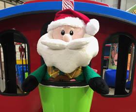 Christmas Santa Holiday Trackless Train Rental with Engineer Cincinnati Ohio Kentucky