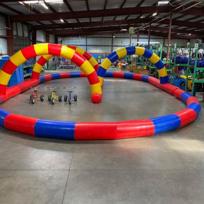 Inflatable Race Track for tricycles, toilet racers, big wheels rental cincinnati ohio