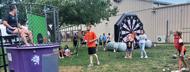 Soccer Club Family Picnic Dunk Tank and Inflatable Soccer Darts Rental