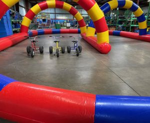 Inflatable Race Track Rental with Adult Tricycles_Cincinnati Ohio