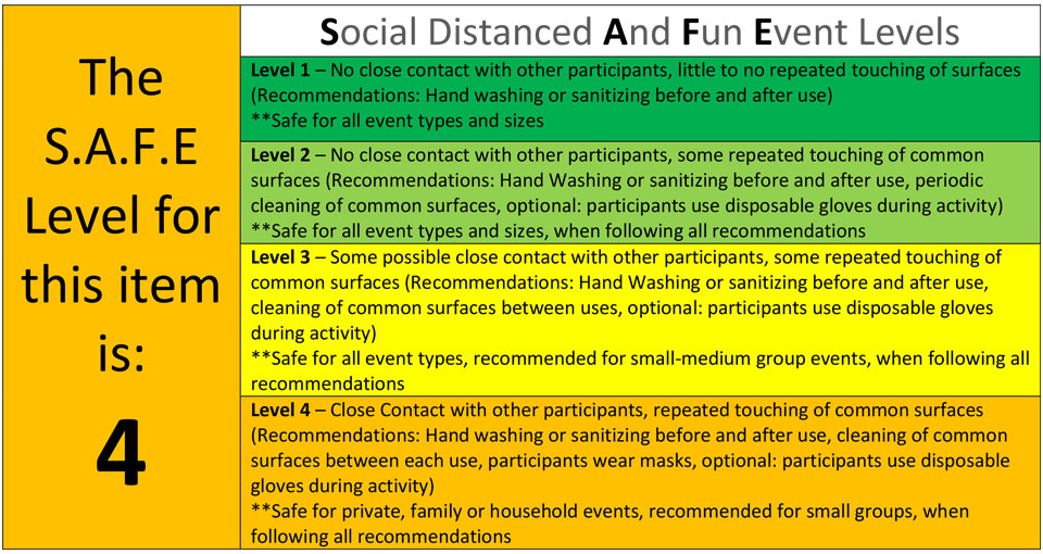 COVID safety and social distanced event levels for party rentals_level 4