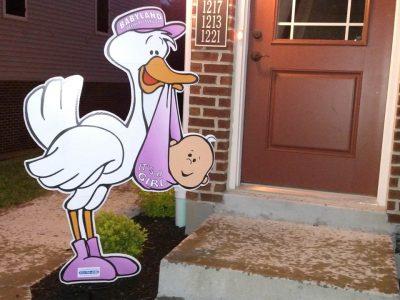It's A girl Lifesize Stork Sign Rental Cincinnati Ohio