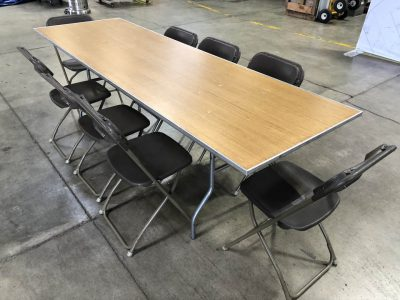 rectangular Banquet table and brown chair rental cincinnati ohio
