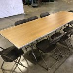 8' Rectangle Wood Banquet Table & Brown Plastic Folding Chairs Rental Cincinnati Ohio