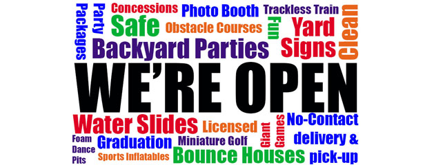 We're Open for your Party Rentals!