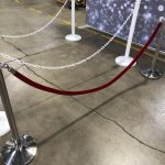 White Plastic Chain & Stanchion Chrome Stanchion Post with Red Velvet Ropes Rental Cincinnati Ohio