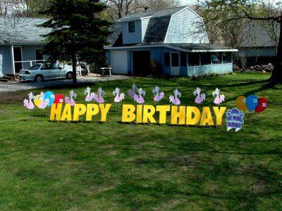 Flamingo Birthday Yard Cards & Signs Rentals Cincinnati Ohio
