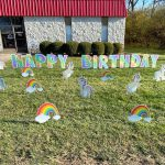 rainbow and unicorn birthday yard card greeting rental cincinnati ohio