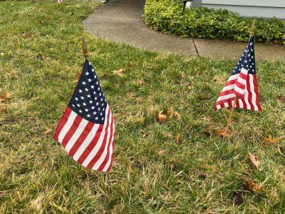 Yard Card - American Flags Patriotic Lawn Greeting Rental Cincinnati Ohio