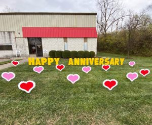 Hearts Happy Anniversary Yard Greeting Lawn Sign Rental Cincinnati Ohio