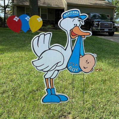 It's a boy stork birth announcement Yard Cards & Signs Rentals Cincinnati Ohio