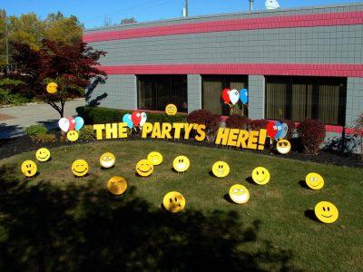 Happy Birthday Yard Card Smiley Faces Sign Rental Cincinnati Ohio