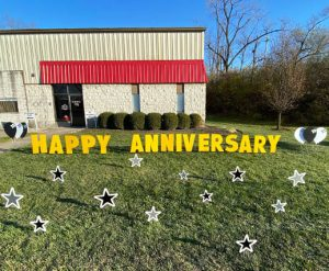 Anniversary Black and Silver Stars with balloons Yard Greeting Lawn Sign Rental Cincinnati Ohio