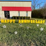 Anniversary Black and Silver Stars Yard Greeting Lawn Sign Rental Cincinnati Ohio