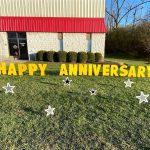 Birthday Anniversary Black & Silver Stars Yard Cards & Signs Rentals Cincinnati Ohio