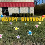 Happy Birthday Colored Stars Yard Greeting Lawn Sign Rental Cincinnati Ohio