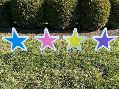 Birthday Anniversary Multicolor Stars Yard Cards & Signs Rentals Cincinnati Ohio