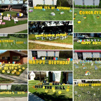 Giant Yard Card Letters Greetings Birthday Sign Party Rental Cincinnati Ohio