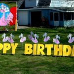 Flamingo Birthday Yard Cards & Signs Rentals Cincinnati Ohio